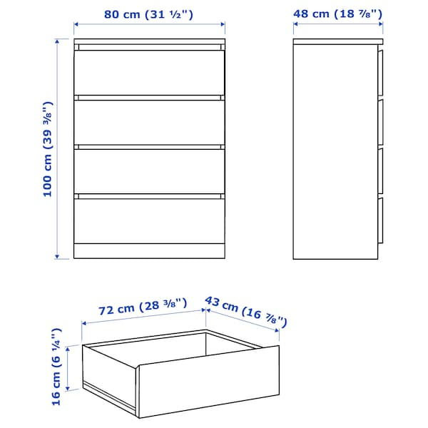 MALM Chest of 4 drawers, grey stained, 80x100 cm