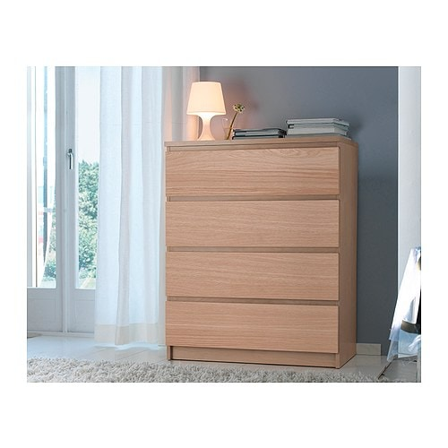 IKEA MALM chest of 4 drawers Real wood veneer will make this chest of drawers age gracefully.