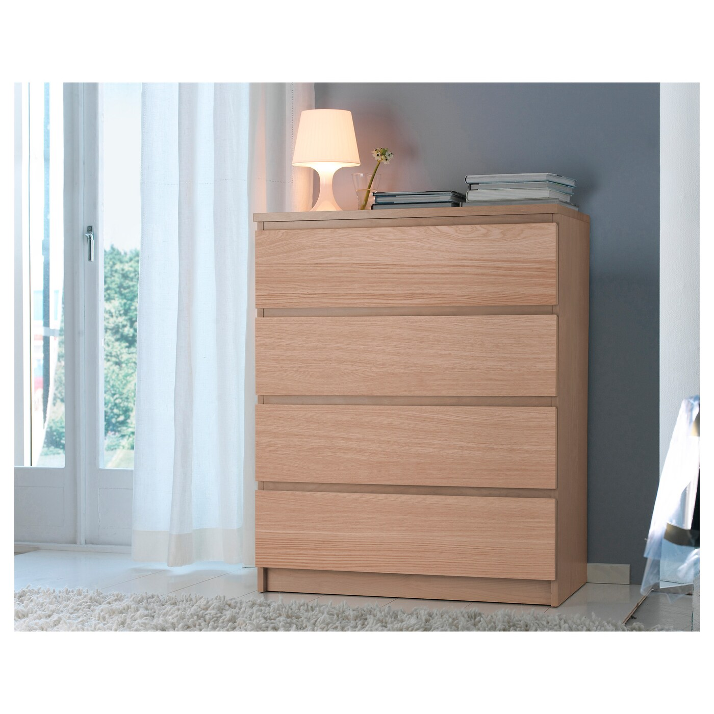 Malm chest of 4 drawers oak veneer 80x100 cm ikea for Comodas en ikea