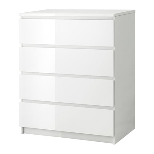 Malm Chest Of 4 Drawers White High Gloss 80 X 100 Cm Ikea