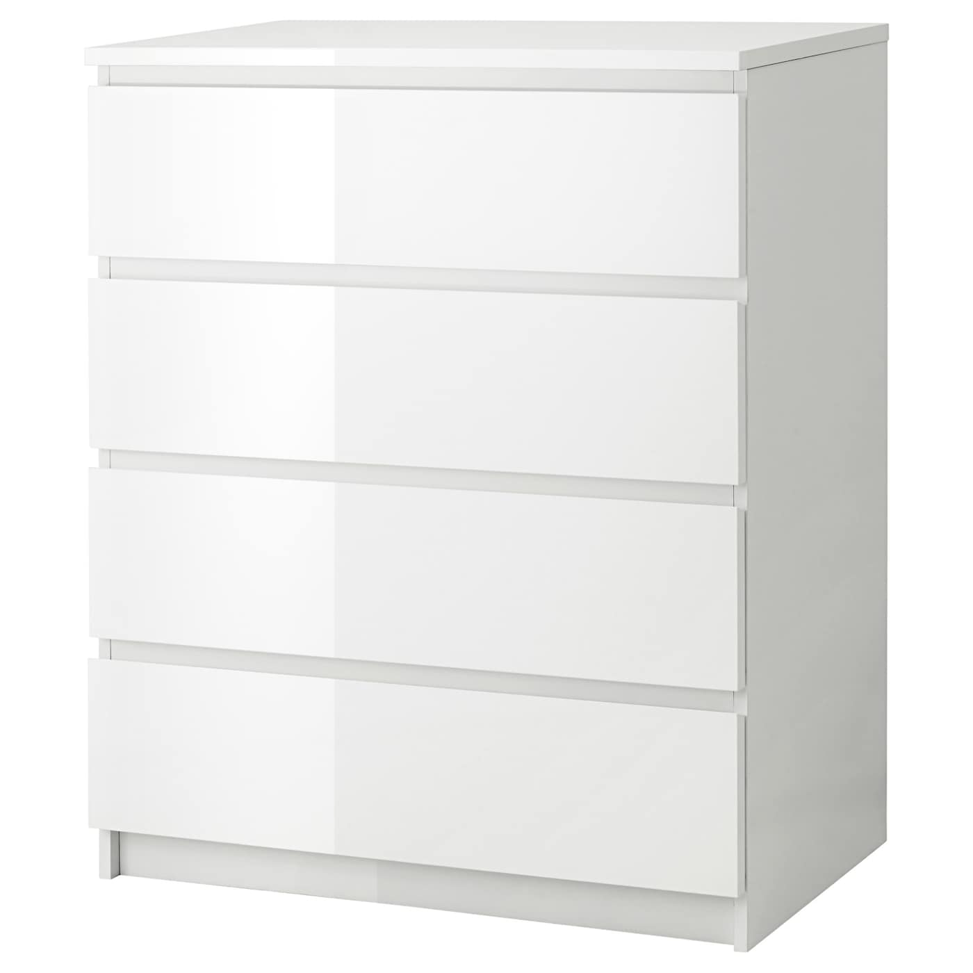 Malm chest of 4 drawers white high gloss 80x100 cm ikea - Ikea malm letto contenitore ...