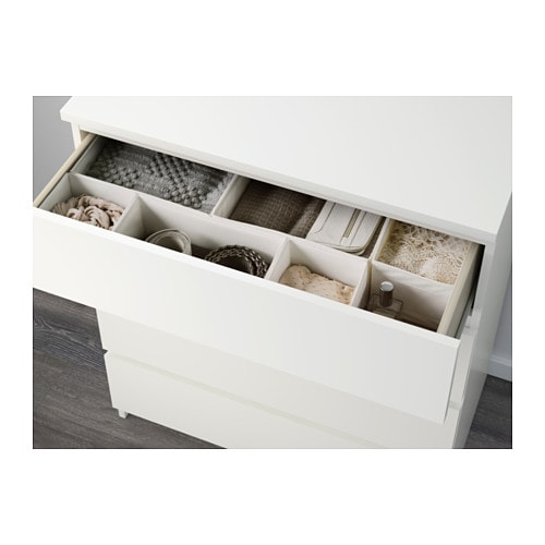 IKEA MALM chest of 4 drawers Smooth running drawers with pull-out stop ...