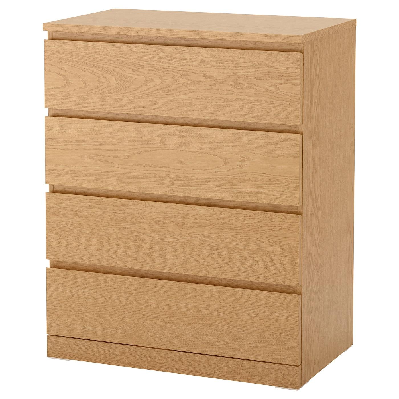 Malm Oak Veneer Chest Of 4 Drawers 80x100 Cm Ikea