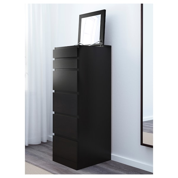Malm Black Brown Mirror Glass Chest Of 6 Drawers 40x123 Cm Ikea
