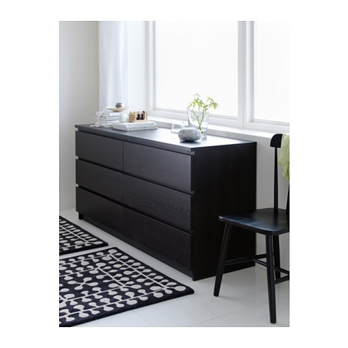 Malm chest of 6 drawers black brown 160x78 cm ikea - Ikea malm 6 tiroirs ...