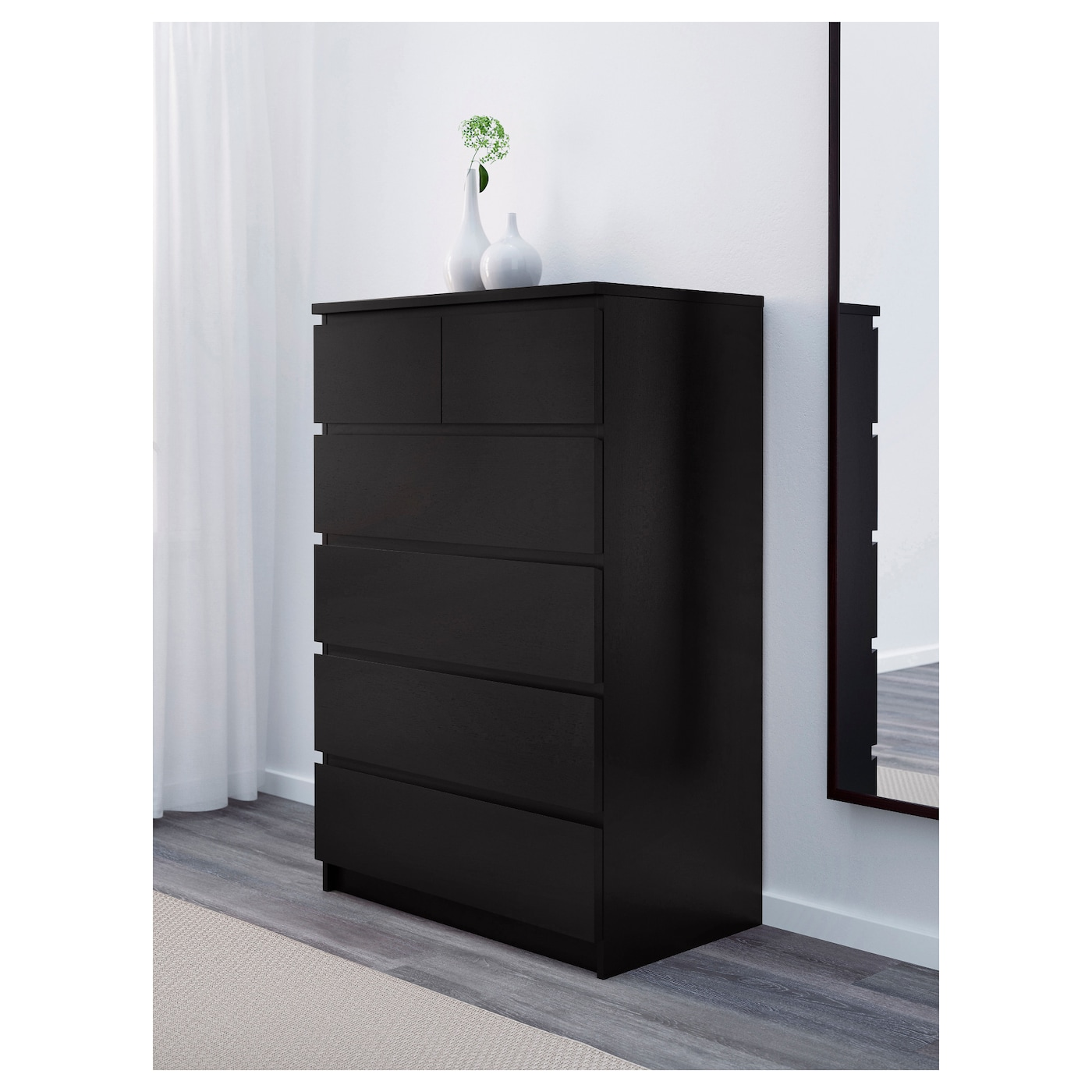 malm chest of 6 drawers black brown 80 x 123 cm ikea. Black Bedroom Furniture Sets. Home Design Ideas