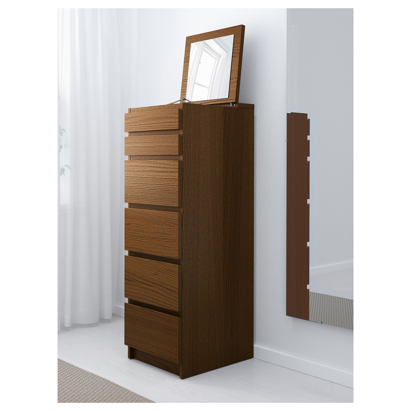 malm chest of 6 drawers brown stained ash veneer mirror glass 40 x 123 cm ikea. Black Bedroom Furniture Sets. Home Design Ideas