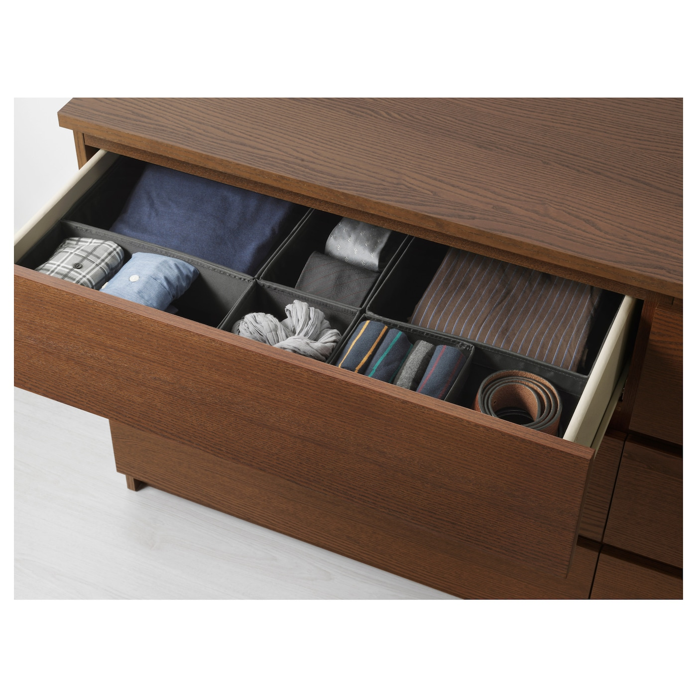 malm chest of 6 drawers brown stained ash veneer 160x78 cm. Black Bedroom Furniture Sets. Home Design Ideas