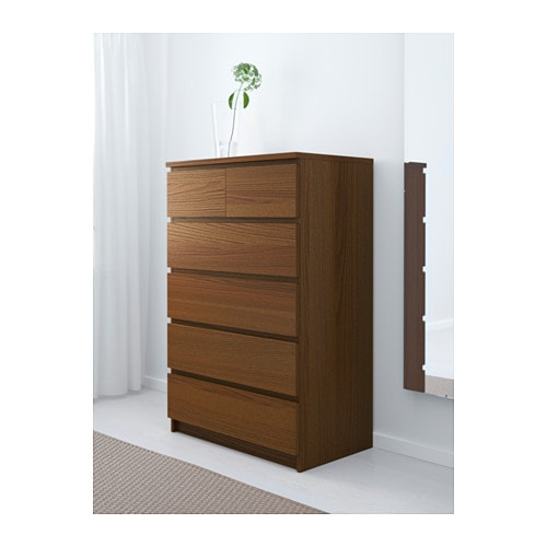 Malm Chest Of 6 Drawers Brown Stained Ash Veneer 80x123 Cm