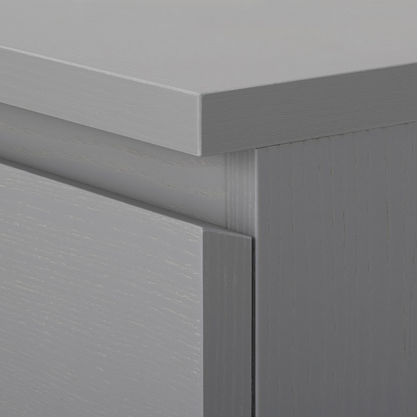 MALM Chest of 6 drawers, grey stained, 80x123 cm
