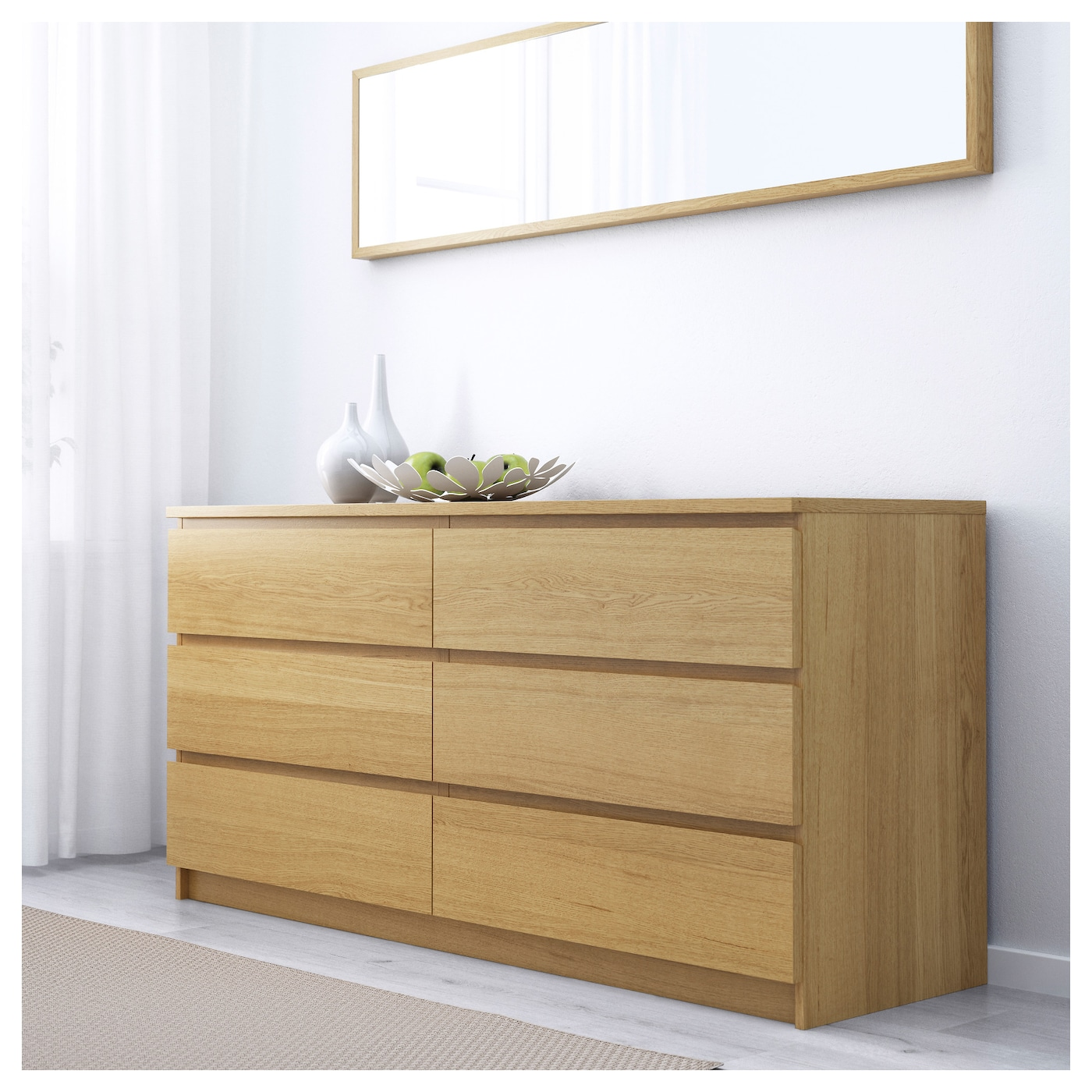 Malm chest of drawers oak veneer cm ikea