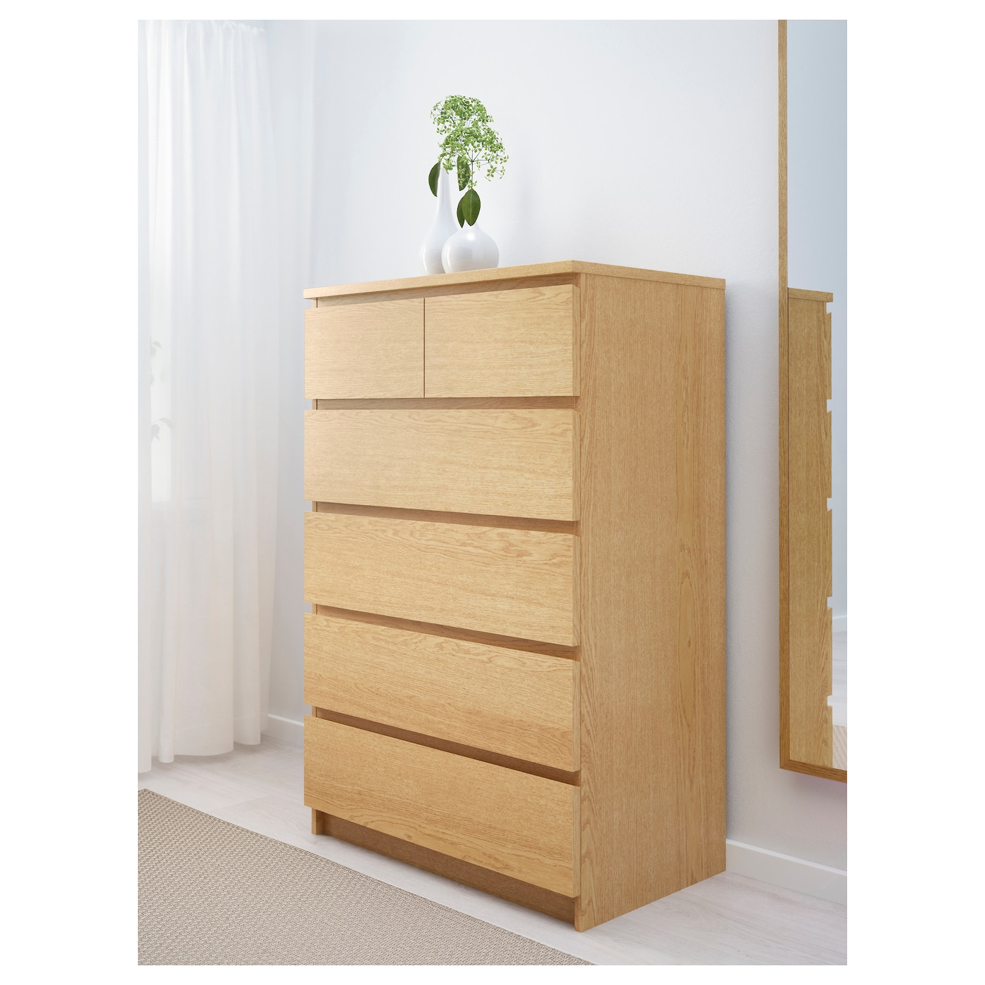 malm chest of 6 drawers oak veneer 80 x 123 cm ikea. Black Bedroom Furniture Sets. Home Design Ideas