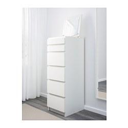 Malm chest of 6 drawers white mirror glass 40x123 cm ikea - Cajonera malm ikea ...