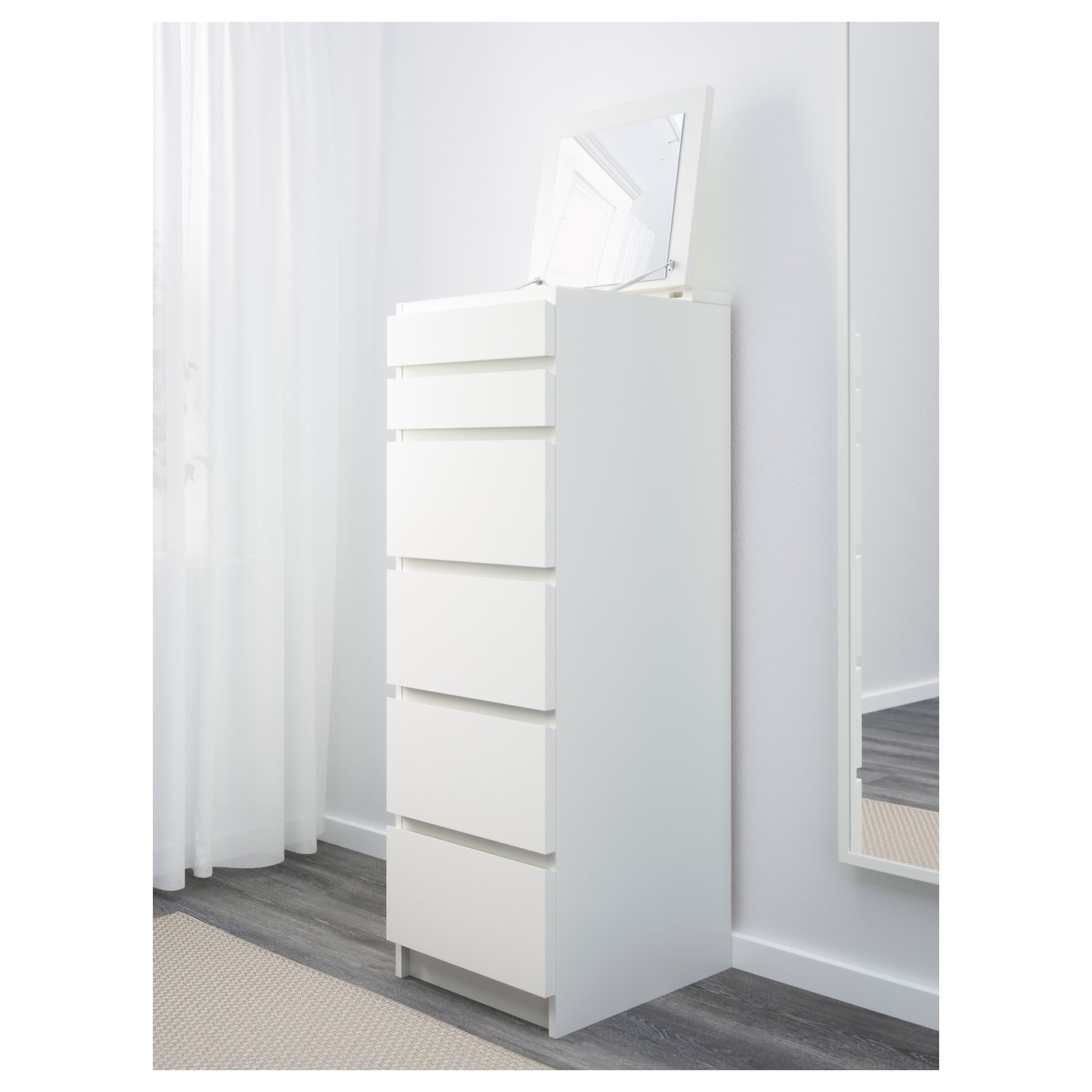 MALM Chest of 6 drawers White/mirror glass 40 x 123 cm
