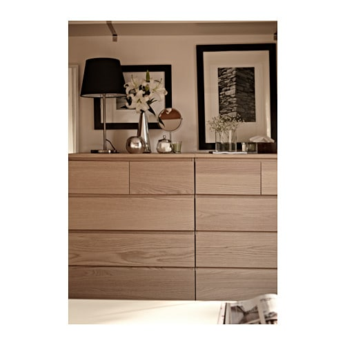 Malm chest of 6 drawers white stained oak veneer 80x123 cm ikea - Ikea malm 6 tiroirs ...