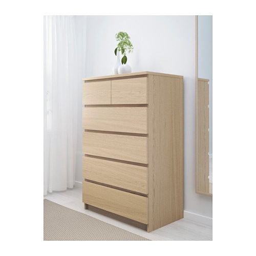 malm chest of 6 drawers white stained oak veneer 80x123 cm. Black Bedroom Furniture Sets. Home Design Ideas