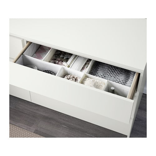 IKEA MALM chest of 6 drawers Smooth running drawers with pull-out stop.