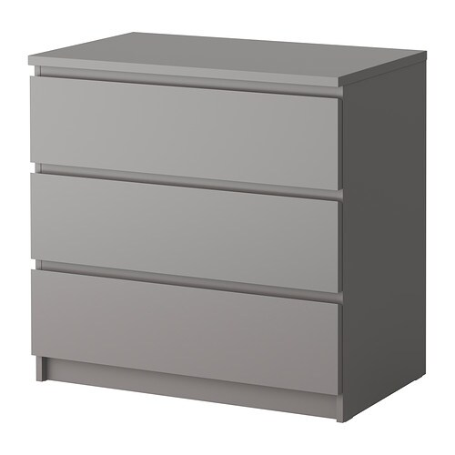 malm chest of 3 drawers grey ikea. Black Bedroom Furniture Sets. Home Design Ideas