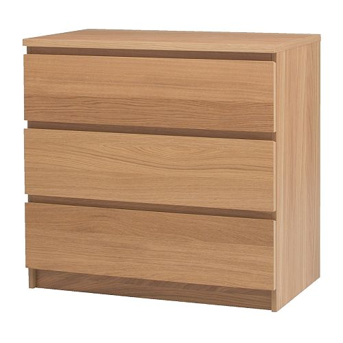 MALM Chest of 3 drawers IKEA Real wood veneer will make this chest of drawers age gracefully.  Smooth running drawers with pull-out stop.