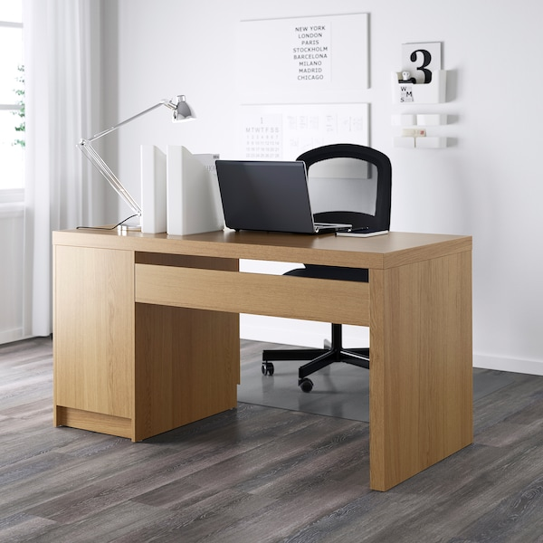 MALM Desk, oak veneer, 140x65 cm