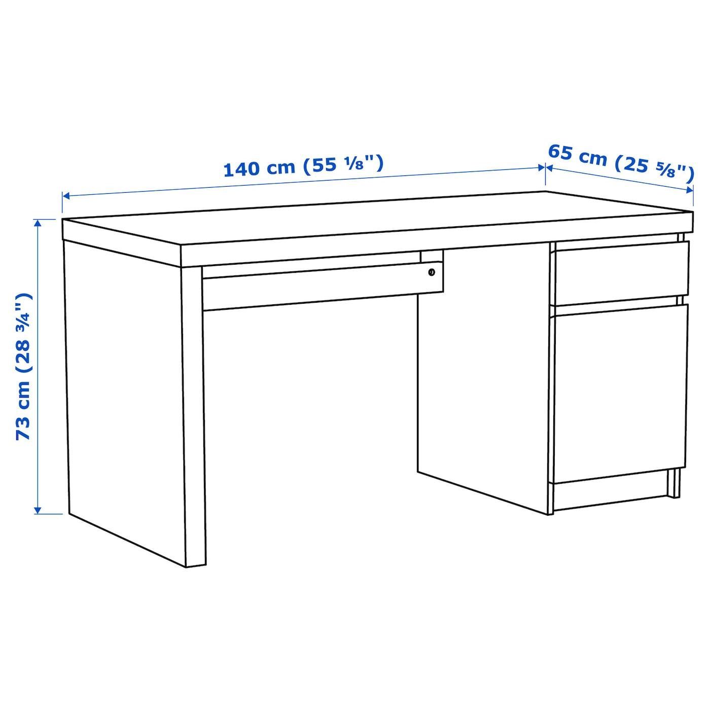 Malm desk white 140x65 cm ikea for Ikea malm tisch
