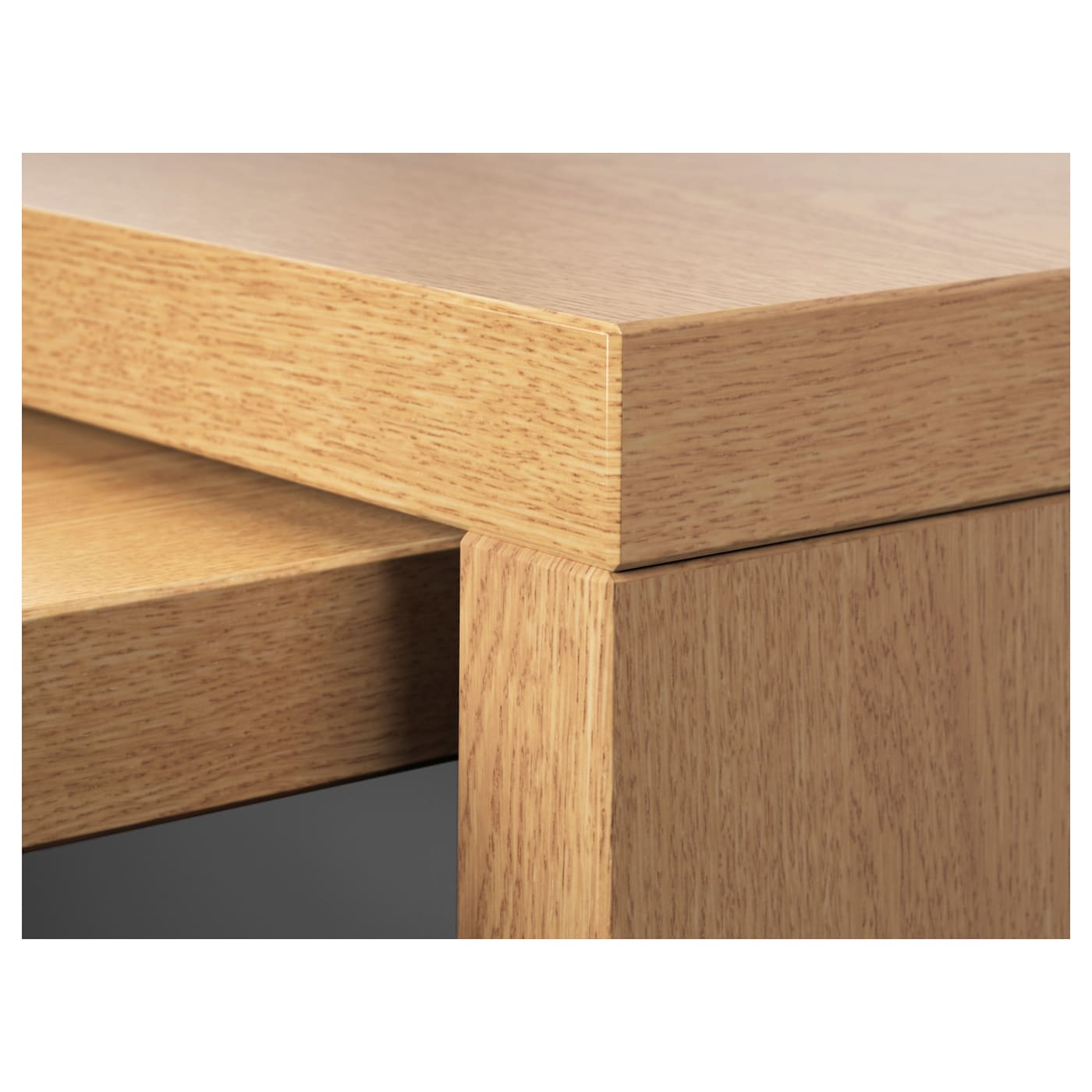 malm desk with pull out panel oak veneer 151x65 cm ikea. Black Bedroom Furniture Sets. Home Design Ideas