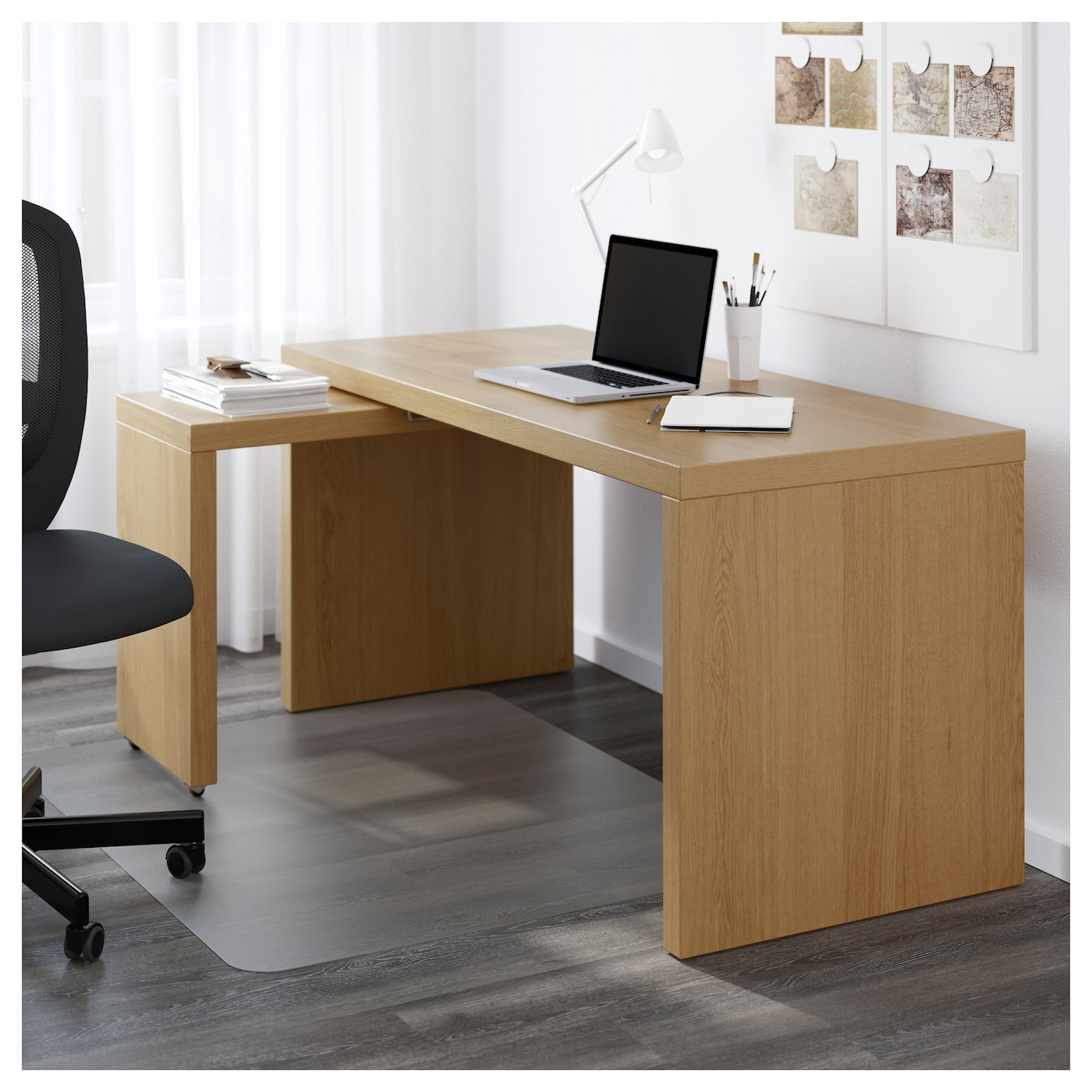 malm desk with pull out panel oak veneer 151 x 65 cm ikea. Black Bedroom Furniture Sets. Home Design Ideas