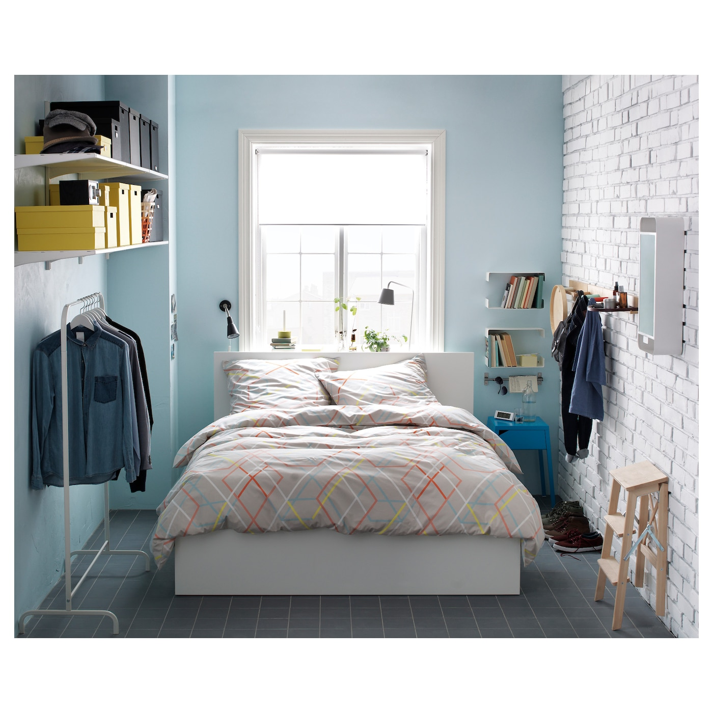 Bedroom Wall Decor Ikea Bedroom Under Window Cute Anime Bedroom Blue And Brown Bedroom Ideas: MALM Ottoman Bed White Standard Double