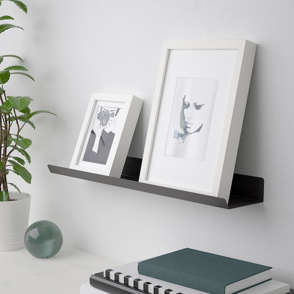MALMBÄCK Display shelf, dark grey, 60 cm