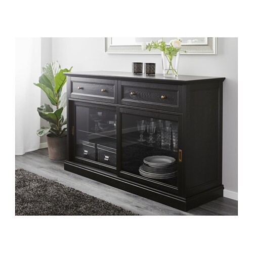 malsj sideboard basic unit black stained 145x92 cm ikea. Black Bedroom Furniture Sets. Home Design Ideas