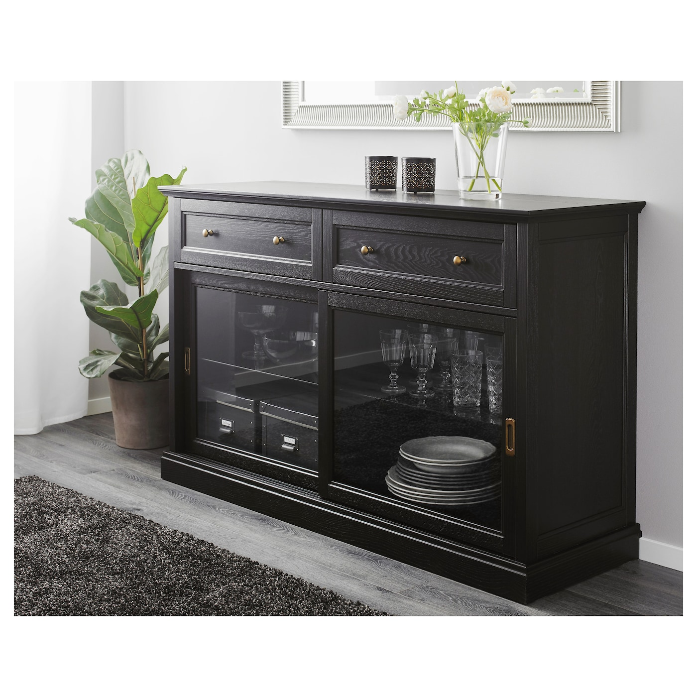 Malsj sideboard basic unit black stained 145x92 cm ikea for Sideboard ikea