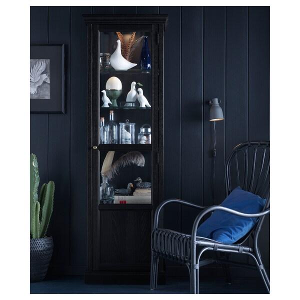 MALSJÖ glass-door cabinet black stained 60 cm 40 cm 186 cm 7.50 kg
