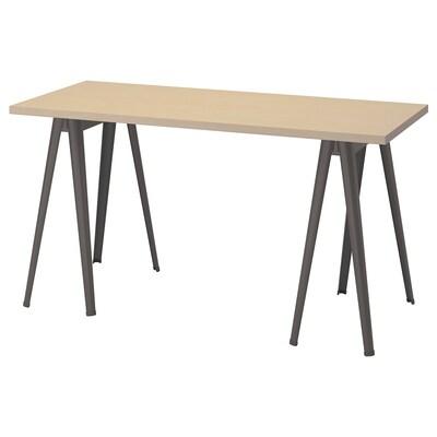 MÅLSKYTT / NÄRSPEL Desk, birch/dark grey, 140x60 cm