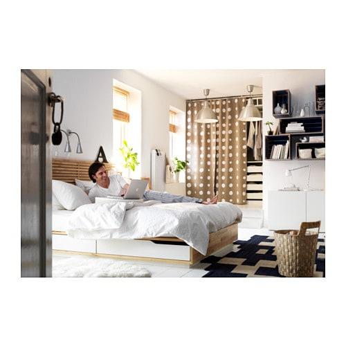 MANDAL Bed frame with headboard Birch/white 140x202 cm - IKEA