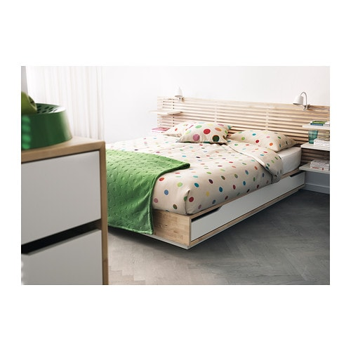 Mandal bed frame with storage birch white 140x202 cm ikea - Lit avec rangement 140x200 ...