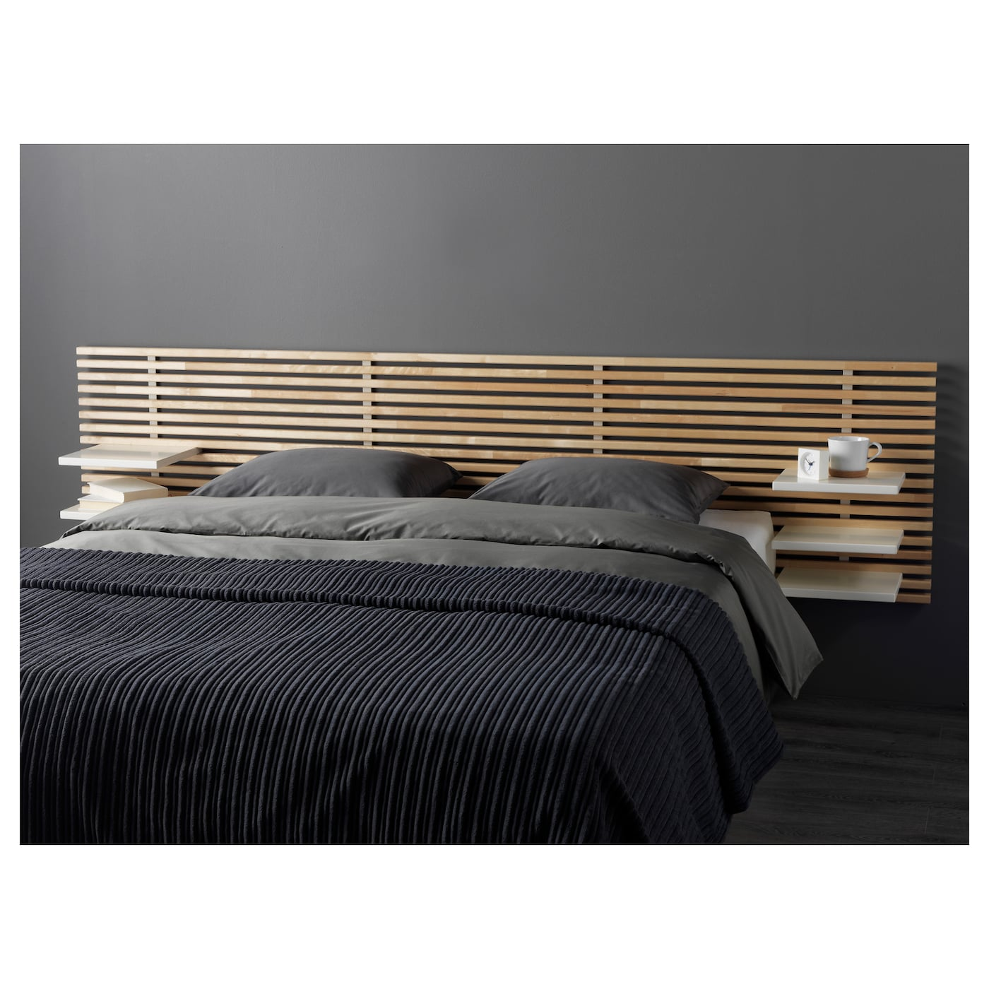Mandal headboard birch white 240 cm ikea for Cadre de lit ikea avec tables de chevet