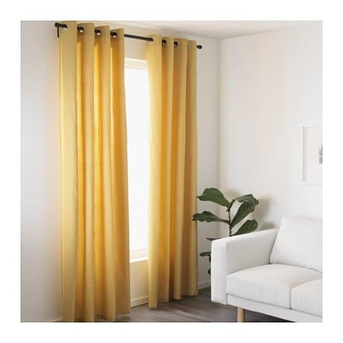 mariam curtains 1 pair yellow 145x250 cm ikea