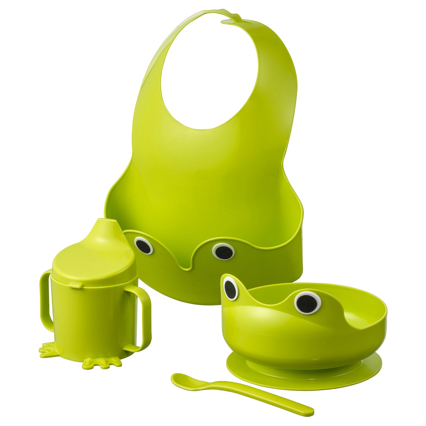 IKEA MATA 4-piece eating set Suction ring keeps the bowl in place.