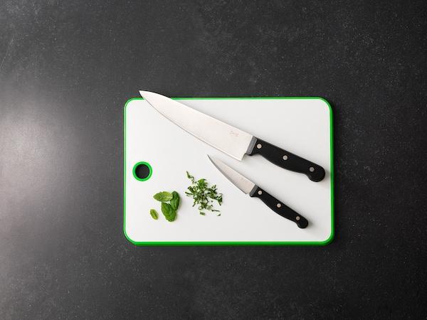 MATLUST Chopping board, green/white, 34x24 cm