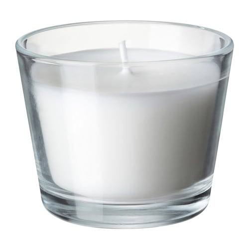 MÅTTFULL Scented candle in glass IKEA When the candle has burnt itself out the glass cup can be used as a tealight holder.