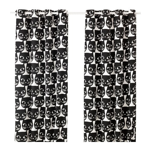 Curtains Ideas cat curtains kitchen : MATTRAM Curtains, 1 pair White/black 145x250 cm - IKEA