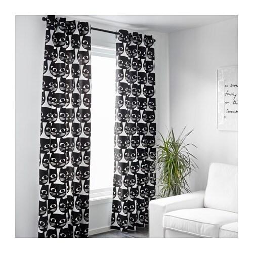 Curtains Ideas cat curtains kitchen : MATTRAM Curtains, 1 pair White/black 145x250 cm - IKEA