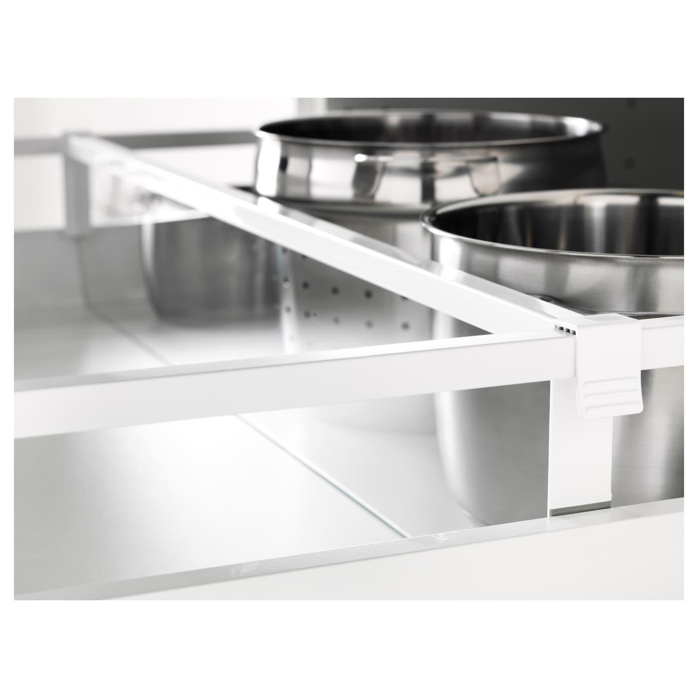 Maximera divider for medium drawer white transparent 80 cm for Ikea schubladen organizer