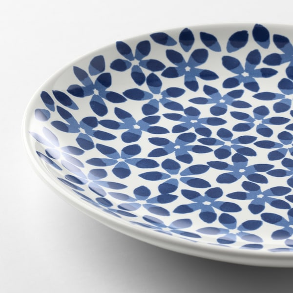 MEDLEM Side plate, white/blue/patterned, 22 cm
