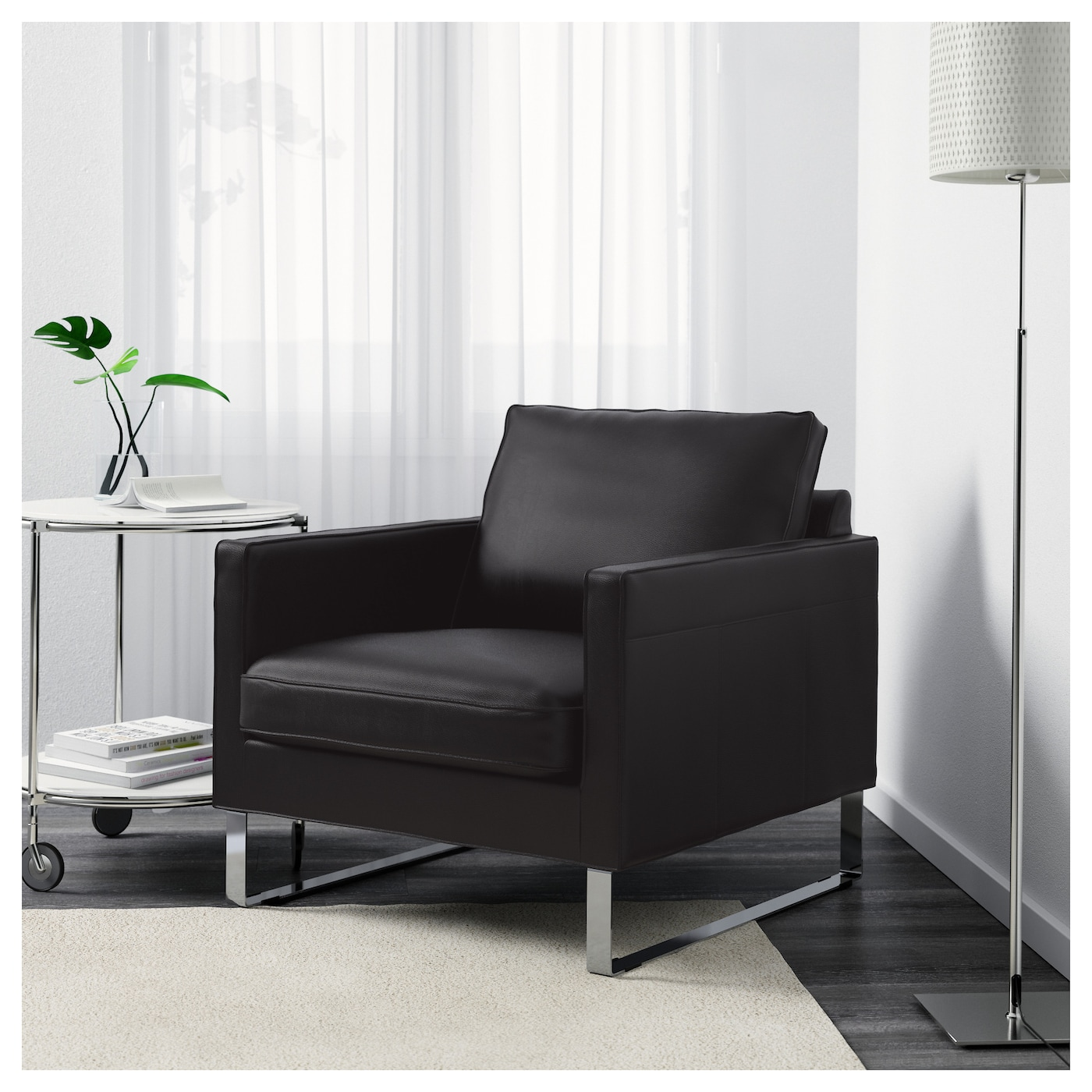 IKEA MELLBY armchair Soft, hardwearing and easy care leather, which ages gracefully.