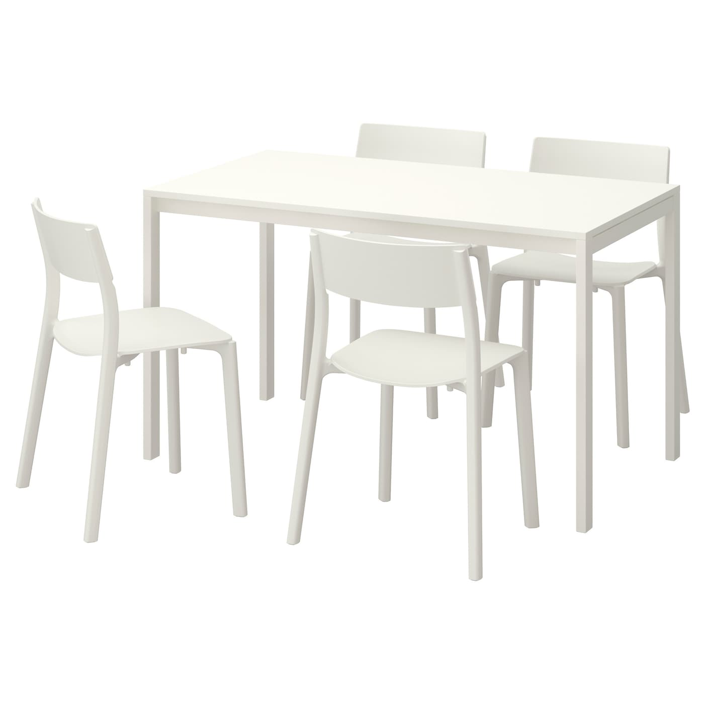 Melltorp janinge table and 4 chairs white white 125 cm ikea for Set de table ikea