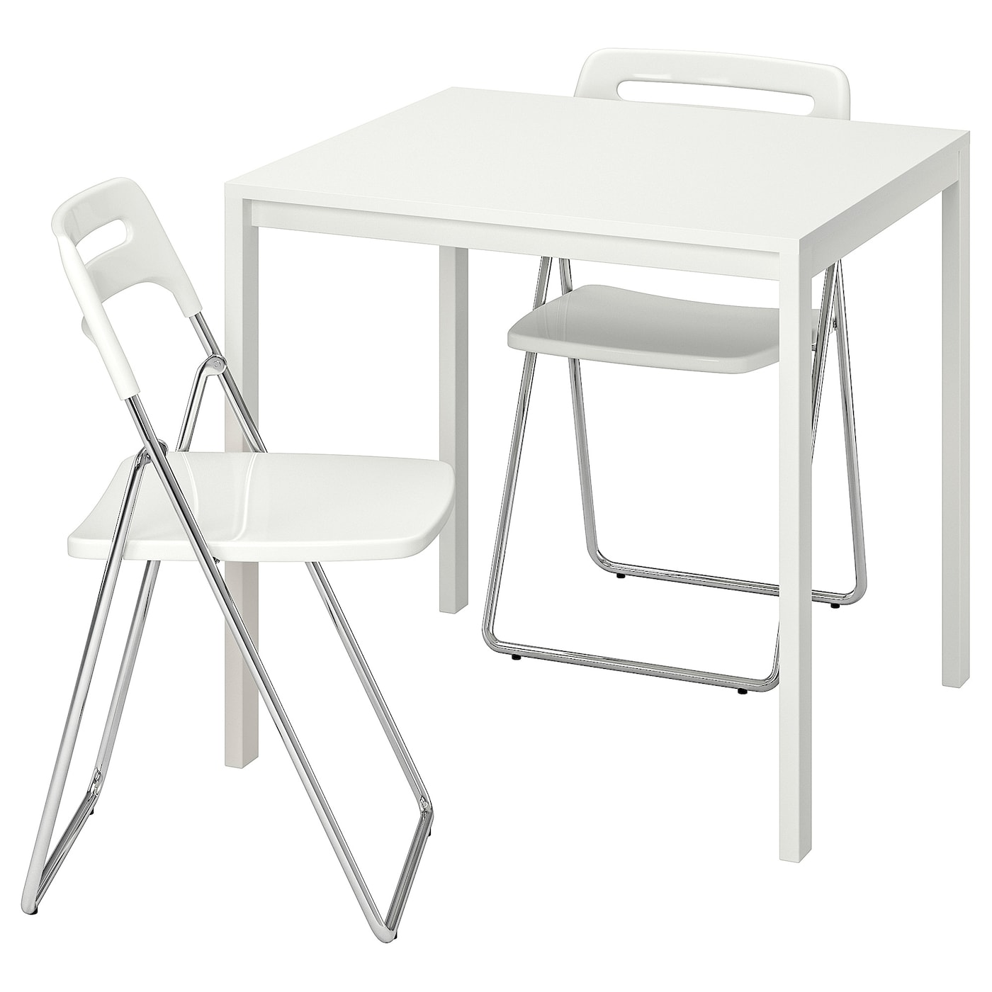 - MELLTORP / NISSE White, White, Table And 2 Folding Chairs - IKEA
