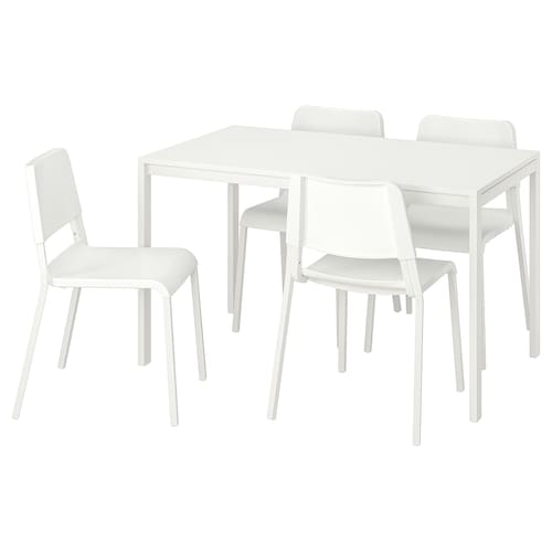 MELLTORP TEODORES Table and 4 chairs white 125 cm