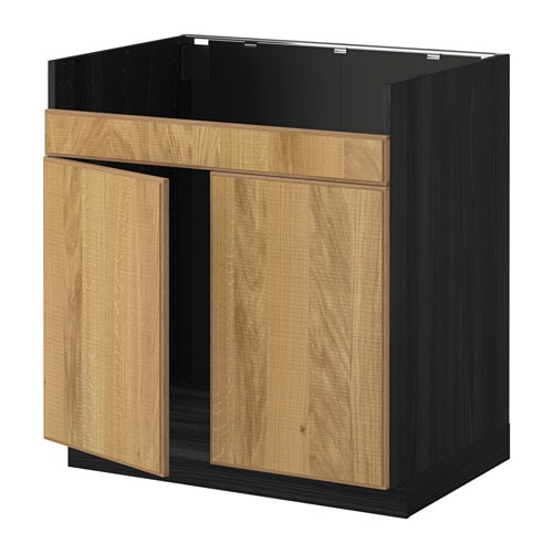 Ikea Apothekerschrank Bohrschablone ~   DOMSJÖ double bowl sink  wood effect black, Hyttan oak veneer  IKEA