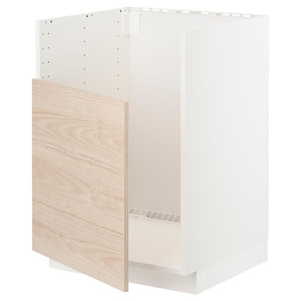 METOD Base cabinet f BREDSJÖN sink, white/Askersund light ash effect, 60x60 cm
